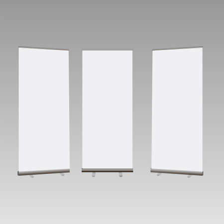 Set of Blank roll up banners display template isolated on grey background. Vector illustration. Mockup for design - Vector