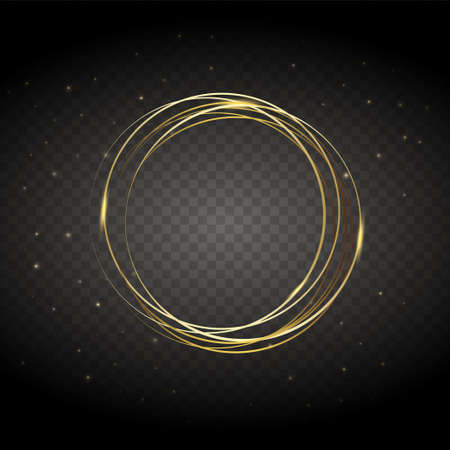 Golden christmas thread, cord, isolated on a transparent background with stars. - vector. Ilustracja