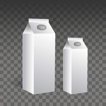 Group of white blank milk boxes with original shadow on transparent bakcground. Retail package mockup set. Half liter containers isolated on white - isometric view, vector.