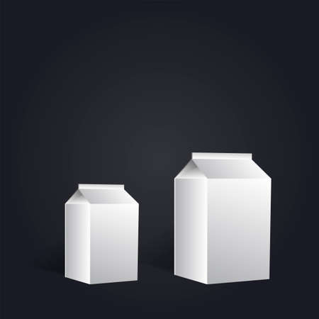 Group of white blank milk boxes on black font. Retail package mockup set. Half liter containers isolated on white - isometric, vector. Illustration