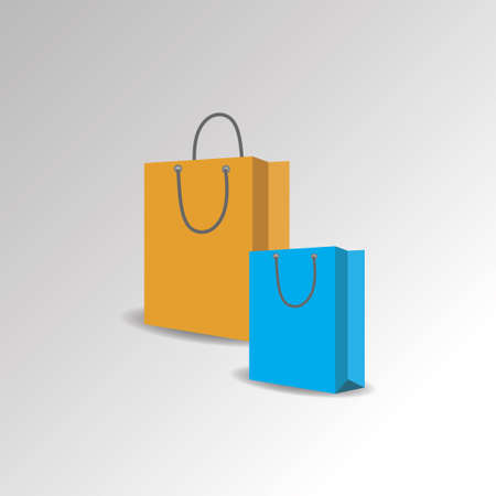 Realistic shopping bag mockup in different sizes. Blue, yellow paper blank pack with shadow on grey background, vector set - Vector Illusztráció