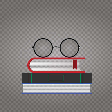 Colorful books and round glasses isolated on a transparent background - vector mockup. Vector Illustration