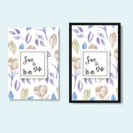 Save the date poster with and without frame, floral purple grey design. Vector. Ilustração