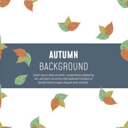 Autumn, fall green, brown leaves on white background pattern vector for greeting card with space for text on it. - Vector