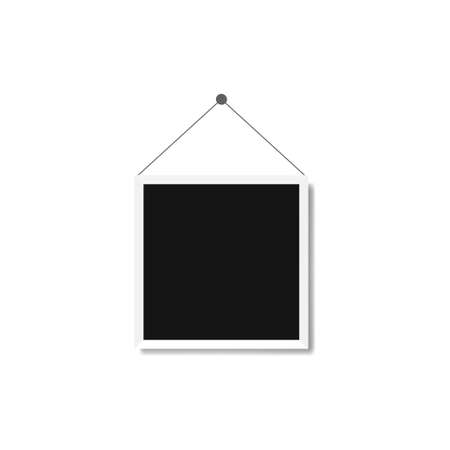 Vector Photo frame mockup hanged on the wall design. White border on a white background - Vector Illusztráció