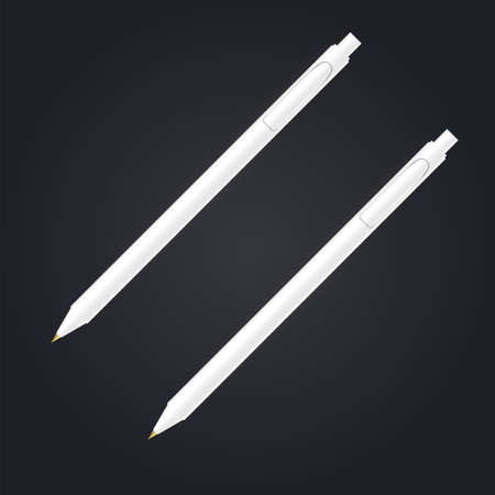 White Two Different Ball pen Mock Up Vector Template - isolated on black background. Vector