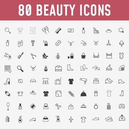 80 conjunto de iconos de belleza. Maquillaje y cosméticos negro, iconos de contorno de colección set de diseño. Ilustración de stock de símbolo de vector de maquillaje y equipo. - Vector