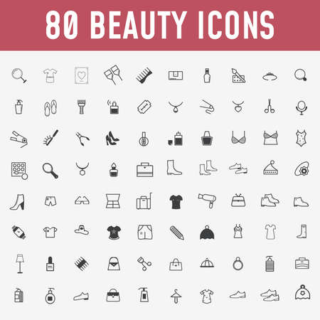 80 set of beauty icons. Makeup and cosmetics black,outline icons in set collection for design. Makeup and equipment vector symbol stock web illustration. - Vector