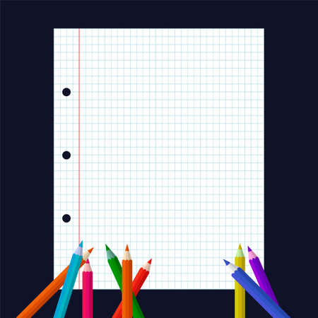 Checked blank notebook paper and multicolored pencils on black background. - Vector, Image