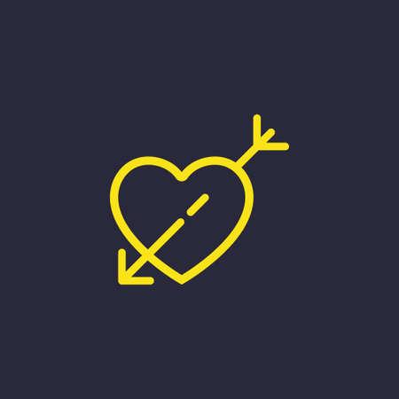 Valentine's day. Romantic design elements isolated. Thin line version. Vector illustration. Heart icon Vetores