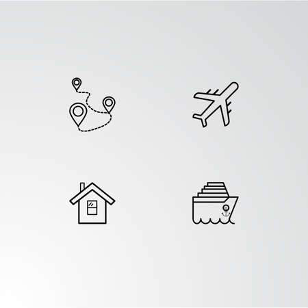 Set of 4 perfect icons for navigation. Vector illustration.