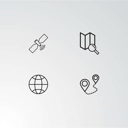 Set of 4 perfect icons for navigation. Vector illustration. Illusztráció
