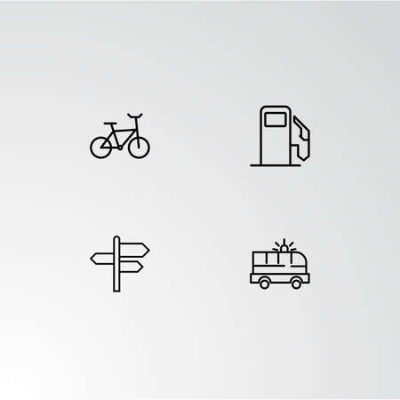 Set of 4 perfect icons for navigation. Vector illustration. Illustration