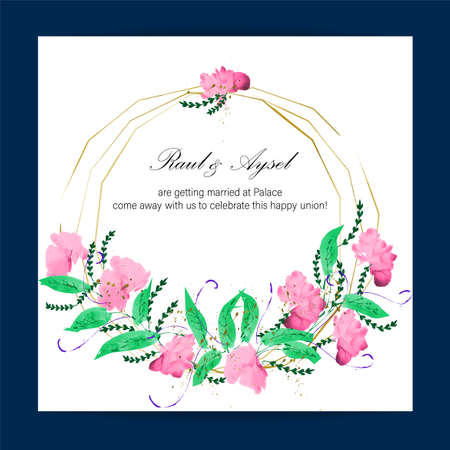 Dark navy blue, indigo frame wedding day invitation card with space for names, date and information and flower frame. vector Illustration