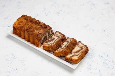 Chocolate,coffee and Vanilla Gluten free Marble Cake, Homemade Pound Cake. Stock fotó