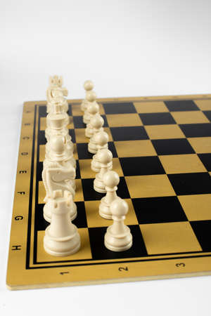 White chess figures on the chessboard. Top view
