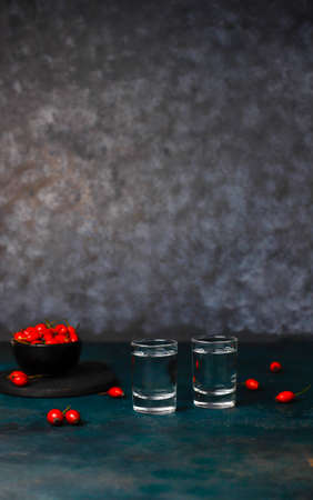 Alcoholic drink vodka in glasswith rosehips on dark background
