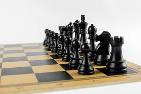 Black chess figures on the chessboard