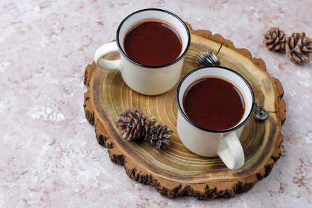 Two cup of hot chocolate with marshmallow on light background Stock Photo
