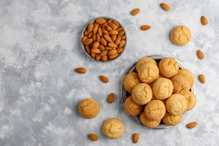 Healthy homemade almond cookies on concrete background,top view