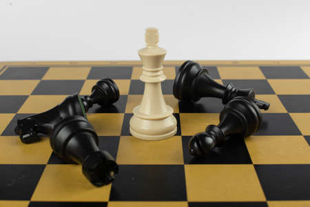 White king won black figures on the chessboard