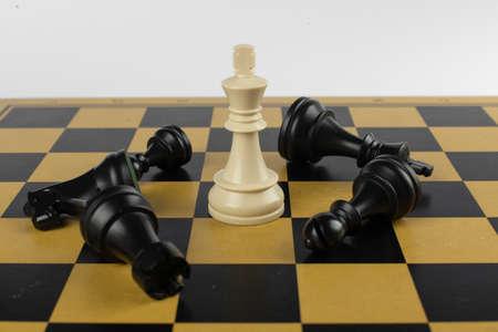 White king won black figures on the chessboard Foto de archivo