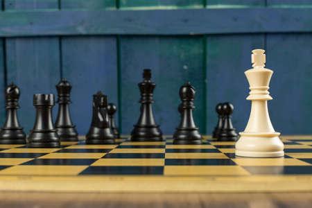 White king against black full team on a chessboard