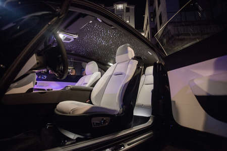Silver interior and seats of a black car