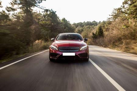 Red luxury business class sedan
