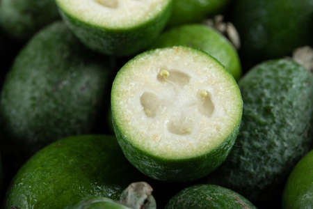 Close up view of fresh feijoa fruits