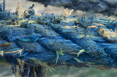 A close up of one of the ropes used to tie down a cruise ship at port. Stockfoto