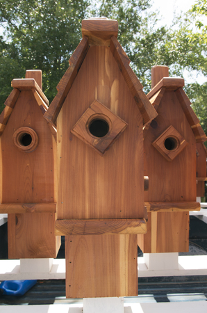 Custom made bird houses for sale in a Farmers Market in New Bern North Ccarolina