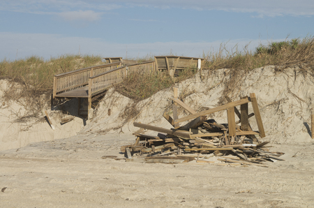 Some of the damage left behind by Hurricane Florence Hurricane on the beach at Emerald Isle,North Carolina