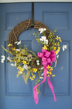 A wreath decorates a resturant in Draper Virginia