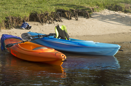 Kayaks prepared for an afternoon trip
