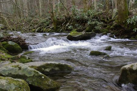 Water flows from a mountain top in Gatlinburg Tenn. Stockfoto
