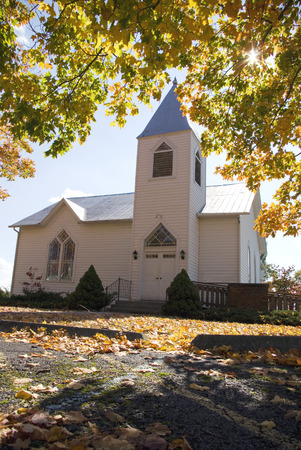 A church in Pulaski County Va is surrounded by Autum Leaves