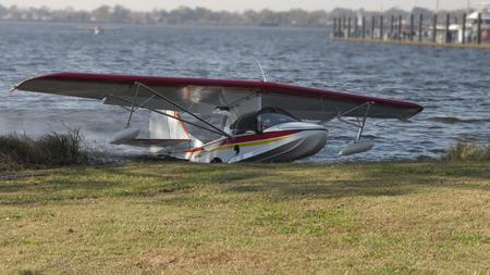 A Seaplane comes ashore at a festival in Bridgeton,North Carolina