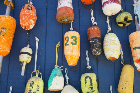 Buoys decorate a wall of a house in Myrtle Beach South Carolina