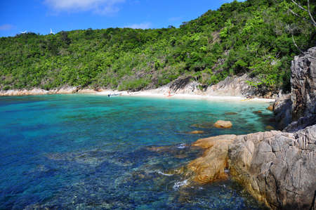 View with clear waters and blue sky from the beautiful Perhentian island, Malaysia