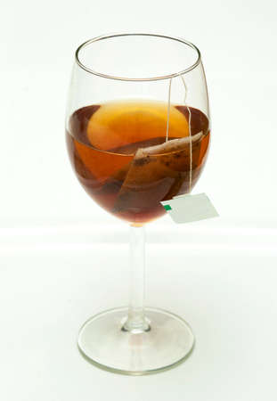 teabag: tea and teabag in wine glass