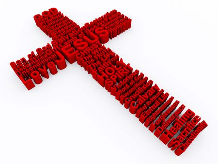 3D Cross made up of vaus words that describe Christianity and the Cross of Jesus Christ.  Stock Photo - 7150682