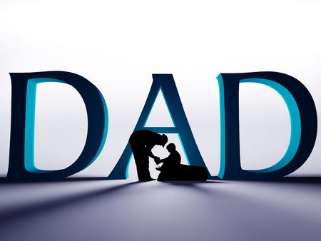 Large 3D DAD text with a silhouette of a father helping to tie the shoe of his child.  Stock Photo