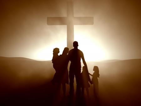 Silhouetten van een familie op het kruis van Jezus.