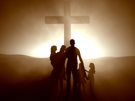 Silhouettes of a family at the Cross of Jesus.