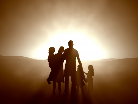 church 3d: Silhouettes of a family looking towards the light.  Stock Photo