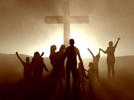 Silhouetten van familie en mensen op het kruis van Jezus.  Stockfoto