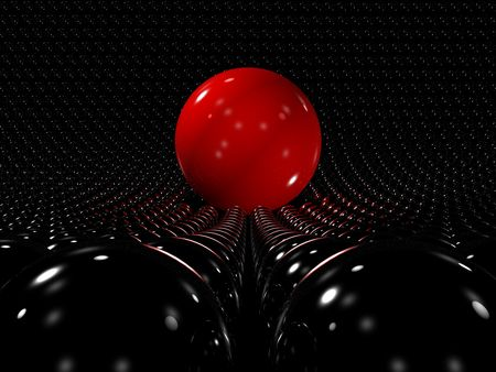 sphere of influence: 3D red reflective sphere standing out among many smaller black spheres Stock Photo