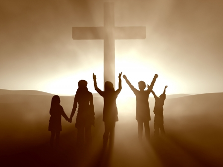 Silhouettes of children at the Cross of Jesus Christ. Stock Photo