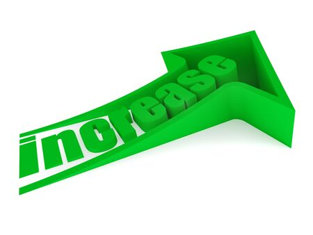 Green increase text inside arrow Stock Photo